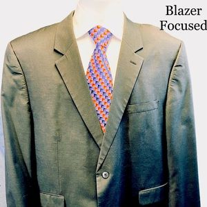 Andrew Fezza Black Single Vent Blazer 50R